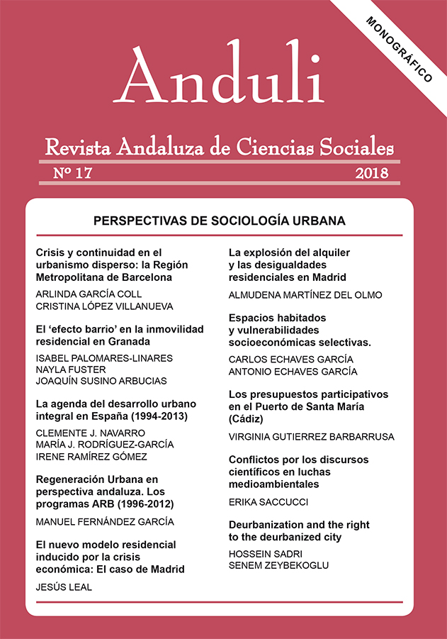 ANDULI 17, 2018 Monografico Sociologia Urbana